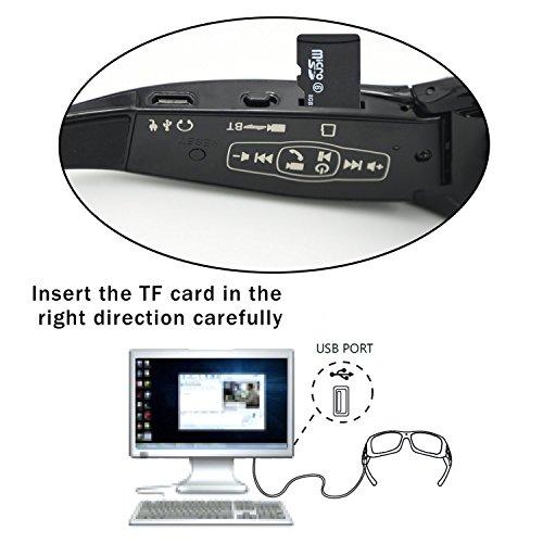 HD Type 1 Caméra pour avec Vélo DCCN Caché VTT 16GB Vidéo Espion Casque Lunettes Sport Bluetooth ZSxR6