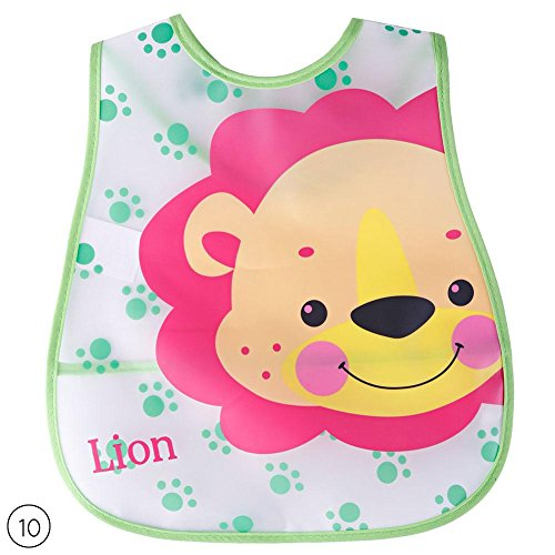 FANMURAN–Cute Cartoon baberos de bebé Niños Impermeable Saliva alimentación toalla, 10(lion)
