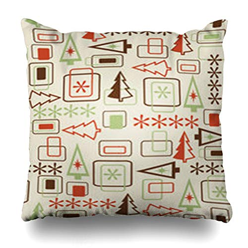 Decor Champ Throw Pillow Covers December Retro Christmas Abstract Holidays Pattern Snowflake Celebration Tree Cristmass Evergreen Home Decor Sofa Pillowcase Square Size 16 x 16 Inches Cushion Case