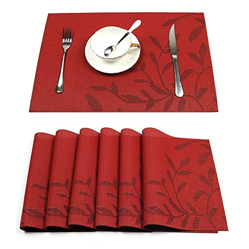 HEBE Placemats Set of 6 Heat-Resistant PVC Placemat for Dining Table Woven Vinyl Stain Resistant Table Mats Easy to Clean (Shell Capiz Placemats)