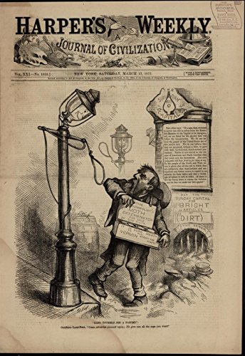 - Lamp Post Holding Noose for Hayes Politics Nast wonderful 1877 unusual old print