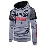 Xchenda Men's Long Sleeve Printed Warm Coats Jackets Hooded Pullover Sweatshirt Top Tee Outwear Blouse (M, Gray)