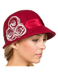 Sakkas Sadie Faux Fur Vintage Style Wool Cloche Bucket Bell Hat