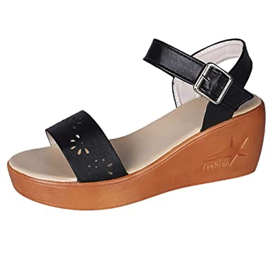 ecac1d41d4c17 Amazon.com | My Heat Women's Wedge Sandals Across The Top Platform ...