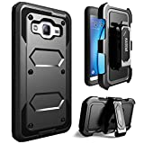 Galaxy J3(2016) Case / J3 V / Samsung Galaxy Amp Prime Case / Express Prime Case, KASEMI [Built in Screen Protector] Dual Layer Protection Locking Belt Swivel Clip Holster with Kickstand -Black