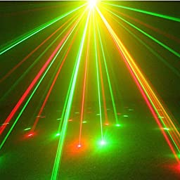 SUNY Red Green Laser Blue LED 8 Gobos Effect Professional Projector Stage Light for DJ Disco Home Show Wedding Party Decorating Indoor Lighting Z08RG