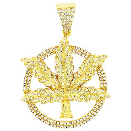 Medallion 2.5 Inch Silver Medallion - Men's Yellow Gold-Plated Sterling Silver Round Cut Cubic Zirconia Weed Leaf Marijuana Medallion Pendant, 2.50