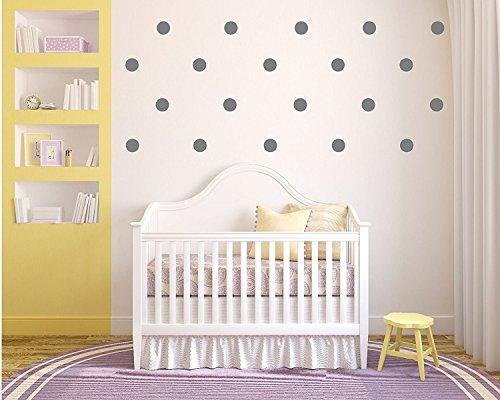 "The Vinyl Design Company Confetti Vinyl Polka Dot Wall Decals - 35 count of 3"" dots (Gray)"