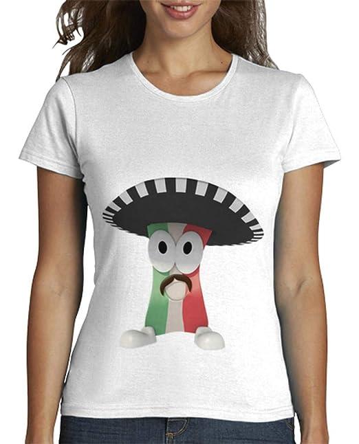 latostadora - Camiseta Mexican Bacon Solo para Mujer Blanco S
