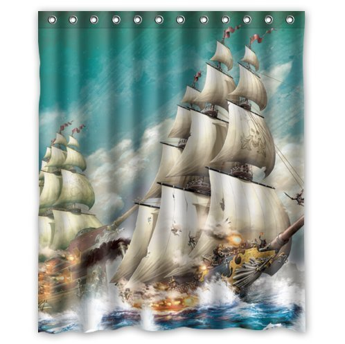 Cool Pirate Ship Waterproof Bathroom Shower Curtain- Polyester ...