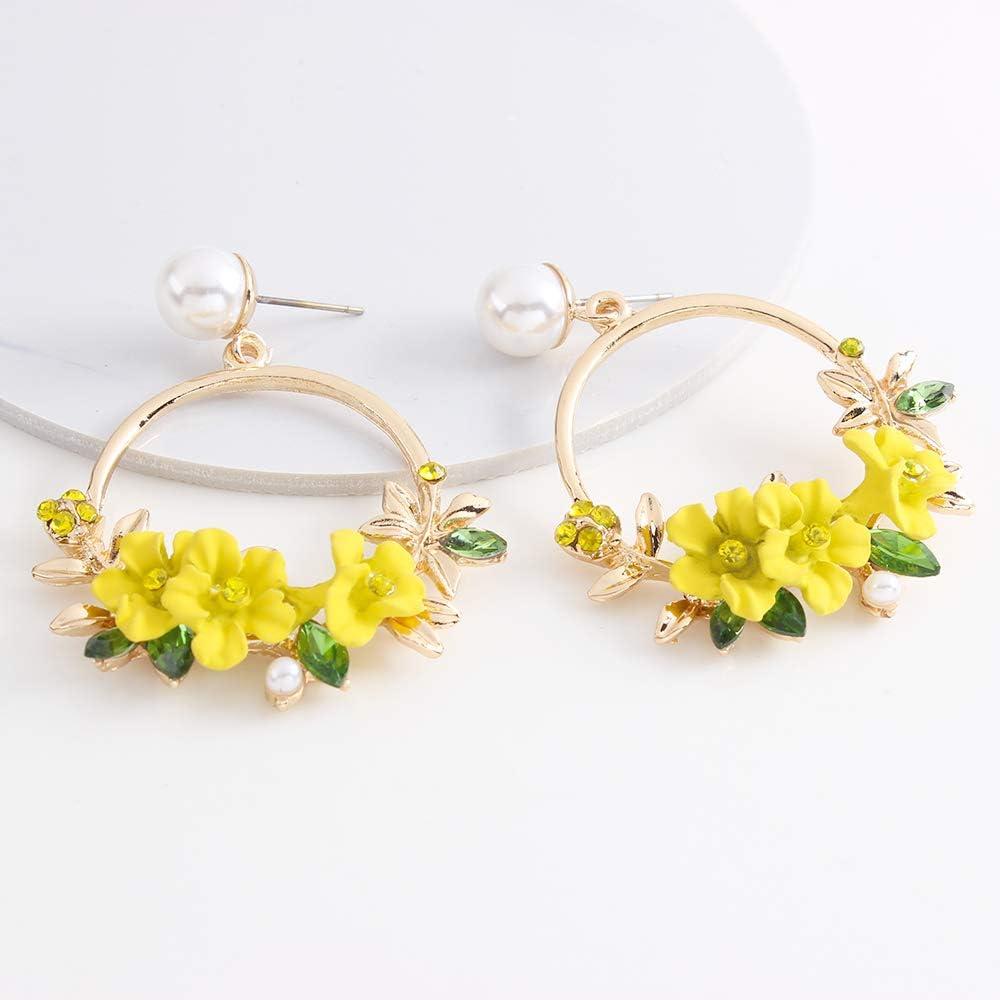 YAZILIND Resin Flowers Round Pendant Drop Dangle Stud Earrings for Women