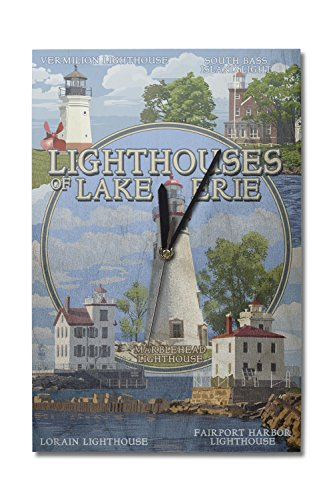 Ohio - The Lighthouses of Lake Erie (10x15 Wood Wall Clock, Decor Ready to Hang)