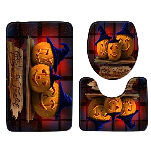 Coerni Halloween Decoration Toilet Topper Bathroom Mats and Rugs Set Party Accessory (H) ()
