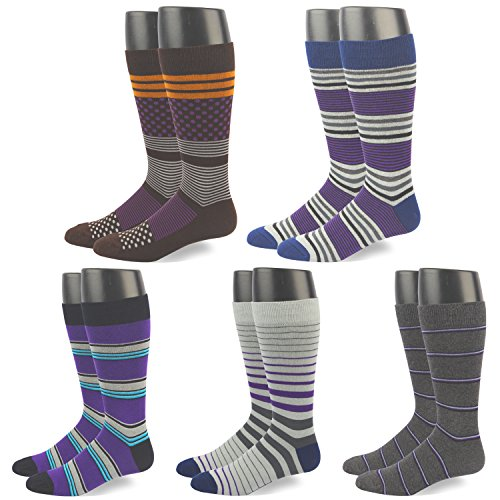 RIORIVA Men Dress Shoe Socks -Funky Colors Novelty Style Pattered (MSK46-5 Pairs classic stripe, US Men Size 10.5-14/EU 44.5-49)