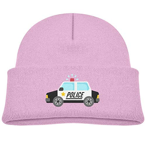 Kids Ocaps Police Cars Satr Beanie Caps Knit Hats Baby Girls Pink