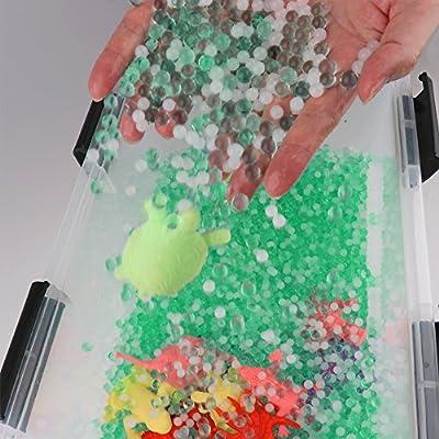 LEOKON Green&White Water Beads Ocean Explorers Tactile Sensory Kit - Mini Jungle Animals Toys Set Included (Upgrade): Toys & Games