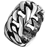 Men's 316L Stainless Steel Openwork Spinner Link Chain Ring Band Vintage Gothic Tribal Biker Silver...