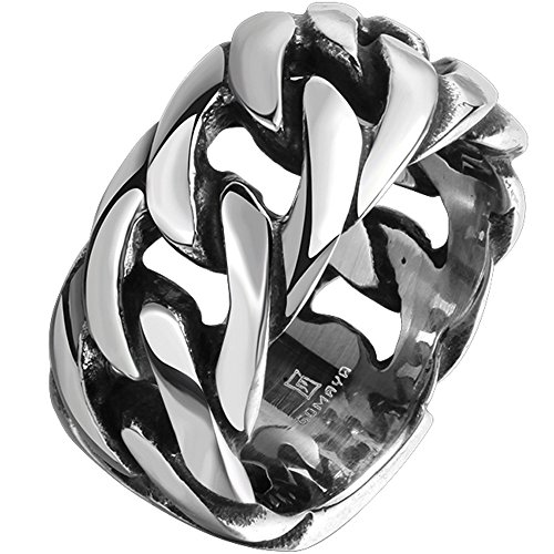 (Men's 316L Stainless Steel Openwork Spinner Link Chain Ring Band Vintage Gothic Tribal Biker Silver Black Size 10)