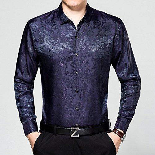Nvunskd oberhemden Herbst Reine Baumwolle Lange ärmel oberhemden, lässig, oberhemden, Revers Hemden,Die Marine in Tibet,XXL