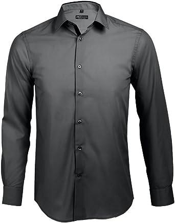 SOLS - Camisa Entallada de Manga Larga Modelo Broker Hombre Caballero - Trabajo/Fiesta/Verano (Pequeña (S)/Titanium/Negro): Amazon.es: Ropa y accesorios