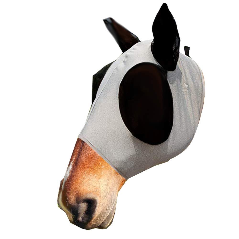 CHENYI Máscara de Malla de Cabeza de Caballo, Máscara antimoscas con orejas, Máscara de Mosca/Mosquito, Protección contra rayos UV (Gris)