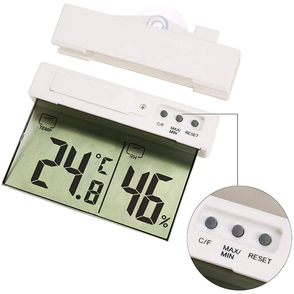 Digital Thermometer Fahrenheit Compact Celsius Display Temperature Humidity Meter Weather Station Home Window Display Hygrometer with Sucker Suction by Lin-Tong