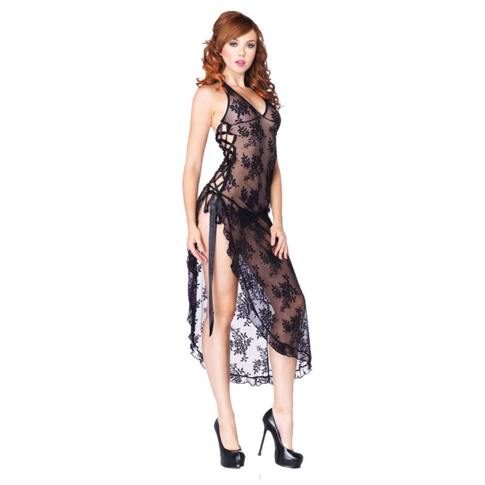 Conjuntos De Lencería para Erotic Mujer Mujeres Erotic para Bodystockingslarge Size S-6Xl Lencería Sexy Sexy Lace Rose Perspectiva Split Falda Larga Pijamas Al, XXXL a57003