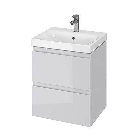 Vbchome Badmobel 50 Cm Grau Waschbecken Mit Unterschrank Waschtisch 2 Schubladen Moduo