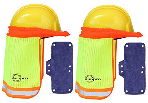 Hard Hat Sun Shade and Sweatband Set :: Hardhat Neck Shade Fits Regular and Full Brim Construction Helmets (2 Pack)