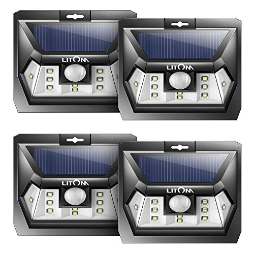 LITOM SUPER BRIGHT Solar Lights Outdoor Wireless Solar Motion Sensor Lighting Solar Powered LED Security Waterproof Wall Spotlights for Patio, Landscape, Flood, Yard, Pool, Garage Door(4 Pack)