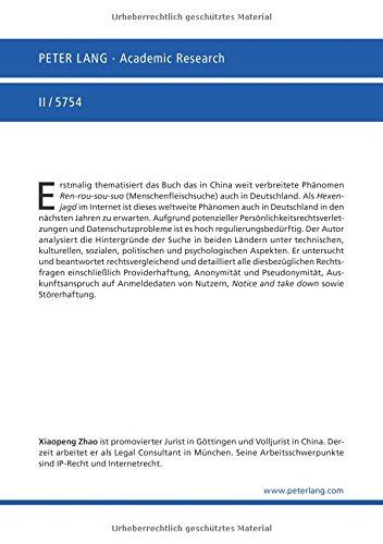 Die rechtliche Regulierung der «Menschenfleischsuche» im Internet: Eine rechtsvergleichende Untersuchung zwischen Deutschland und China (Europäische Hochschulschriften Recht) (German Edition)