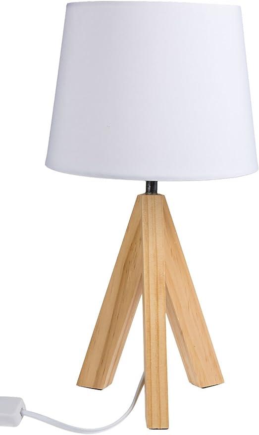 Out of the Blue 571285, lámpara de mesa con pies de madera modelo 1, aprox. 36 cm, madera, color blanco, 20 x 20 x 36 cm: Amazon.es: Iluminación