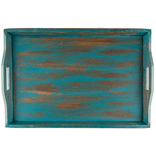 XXL LARGE WOODEN SERVING TRAY DISTRESSED TURQUIOSE WOOD OTTOMAN 24