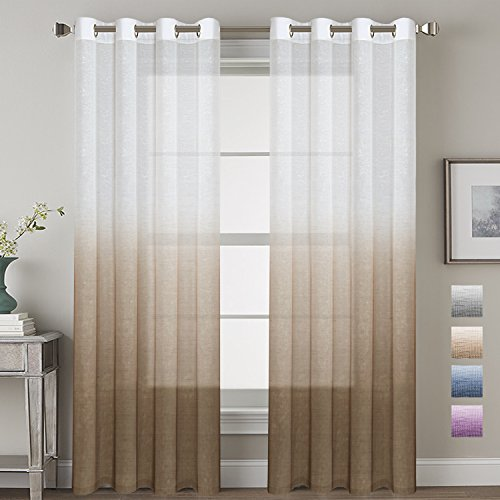H.VERSAILTEX Living Room Sheer Curtains Home Decorative Linen Blended Ombre Window Treatment Energy Saving Nickel Grommet Curtain Panels for Bedroom/Living Room (Set of 2, Taupe, 52x84 - Inch) (Living Room Taupe Set)