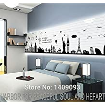 2016 NEW World Map Wall Sticker Black Vinyl London Paris World Famous Travel Place Wall Decals Large Sticker Home Decoration