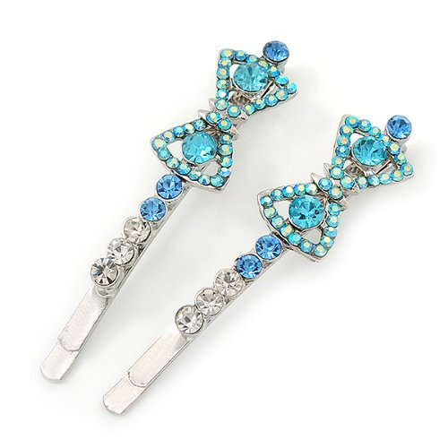 "Paire de barrettes ""Noeud"" cristal Swarovski AB bleu/transparent en plaqué rhodium"