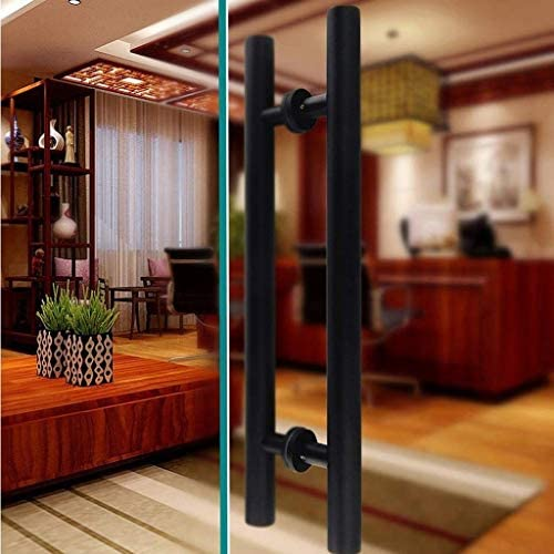 WJMLS Manija de la puerta, de acero inoxidable push-pull manija de la puerta for puertas de cristal/puertas de madera/metal/Puertas puertas de granero - Negro: Amazon.es: Bricolaje y herramientas