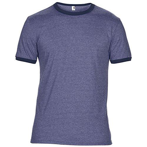 Anvil Mens Plain Lightweight Ringer T-Shirt (L) (Heather (Heather Blue Ringer)