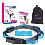 Windgrace Premium Stretching Strap | Quality Stretching Straps with 12 Loops – eBook, Resistance Loop Band and Carry Bag – Physical Therapy, Yoga, Pilates, Yoga Stretch Strap