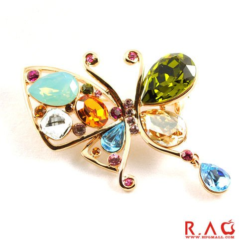 TKHNE Special Italina Red crystal zircon colorful butterfly brooch pin badge women ()