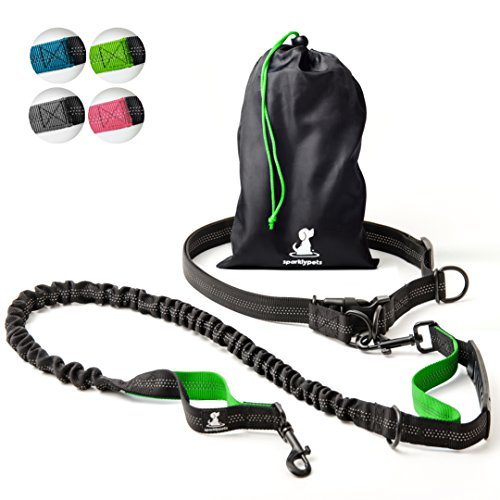 SparklyPets Hands-Free Dog Leash for Medium and Large Dogs – Professional Harness with Reflective Stitches for Training, Walking, Jogging and Running Your Pet (Green)