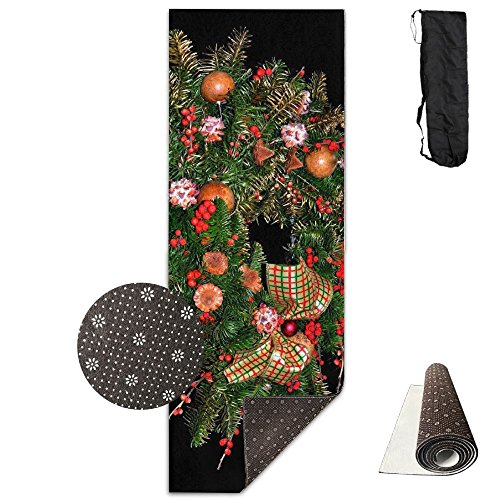 Christmas Toys Balls Berries Pine Needles Wreath Bow Christmas ECO Aqua Power Kinematic Iyengar Kundini Hot Pilates Gymnastics Hatha Yoga Mat And Other Mats That Need To Be Performed On (Crystal Berry Wreath)