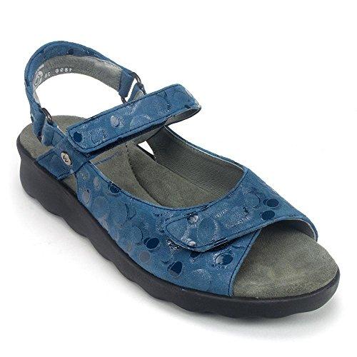 Wolky Kvinners Pichu Sandal Blå Sirkler