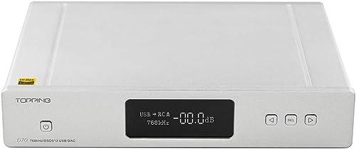 Topping D70 DAC AK44972 XMOS XU208 USB DSD512 Native 32Bit 768kHz Balance XLR Decoder with Remote Control Silver