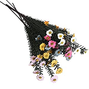 SANGQU Fake Flowers Artificial Long Small Daisy Flowers Real Looking Plastic&Silk Material Wedding Garden Home Bouquet Party Decoration Room Office Decor,Pack of 1(Vase not Included) 23