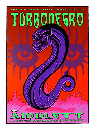Seattle Concert Poster - Turbonegro Concert Poster Justin Hampton S/N Seattle 2003
