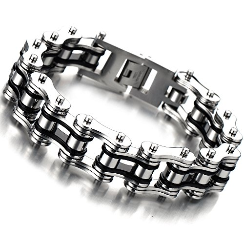 Mens Stainless Steel Two Tone Bracelet - COOLSTEELANDBEYOND Masculine Mens Bike Chain Bracelet of Stainless Steel Two-tone Polished