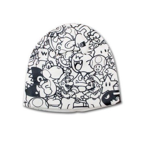 Mens Bioworld Super Mario Bros. Collage Printed Beanie Hat - Mario Bros Costumes Uk