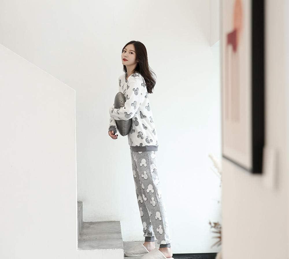 Bayrick Pijama Mujer Algodon Invierno,Pijamas de Lana de Coral de otoño e Invierno Lindo Franela Manga Larga Traje de Servicio a Domicilio Suelto-S_Dibujos Animados Mickey: Amazon.es: Hogar