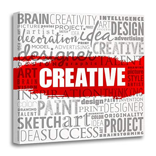 Emvency Painting Canvas Print Wooden Frame Artwork Abstract Creative Word Cloud Achievement Association Brain Brainstorming Decorative 20x20 Inches Wall Art for Home Decor -